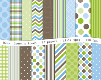 Blue, Green & Brown digital scrapbooking paper pack - 18 printable jpeg papers, 12x12, 300 dpi - instant download