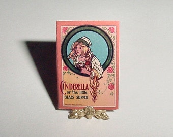 Dollhouse Miniature Book CINDERELLA - Little Glass Slipper - McLoughlin Bros - One Inch Scale Childrens Fairy Tale Story Dollhouse Accessory
