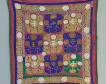 46 x 48 Vintage Suzani Old Embroidery Pastel Suzani Wall Hanging Uzbek Suzani Table Cover Ethnic Suzani FAST SHIPMENT with ups - suzani-095