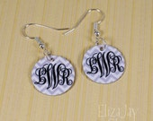 enameled chevron elegant monogram earrings