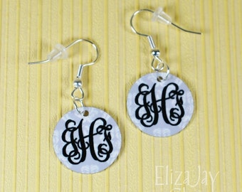enameled damask monogram earrings