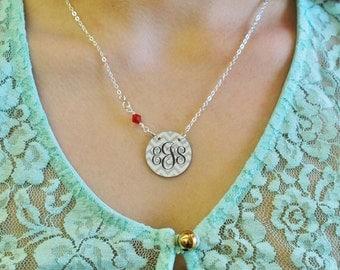 """1"""" enameled chevron elegant monogram necklace with Swarovski crystal"""