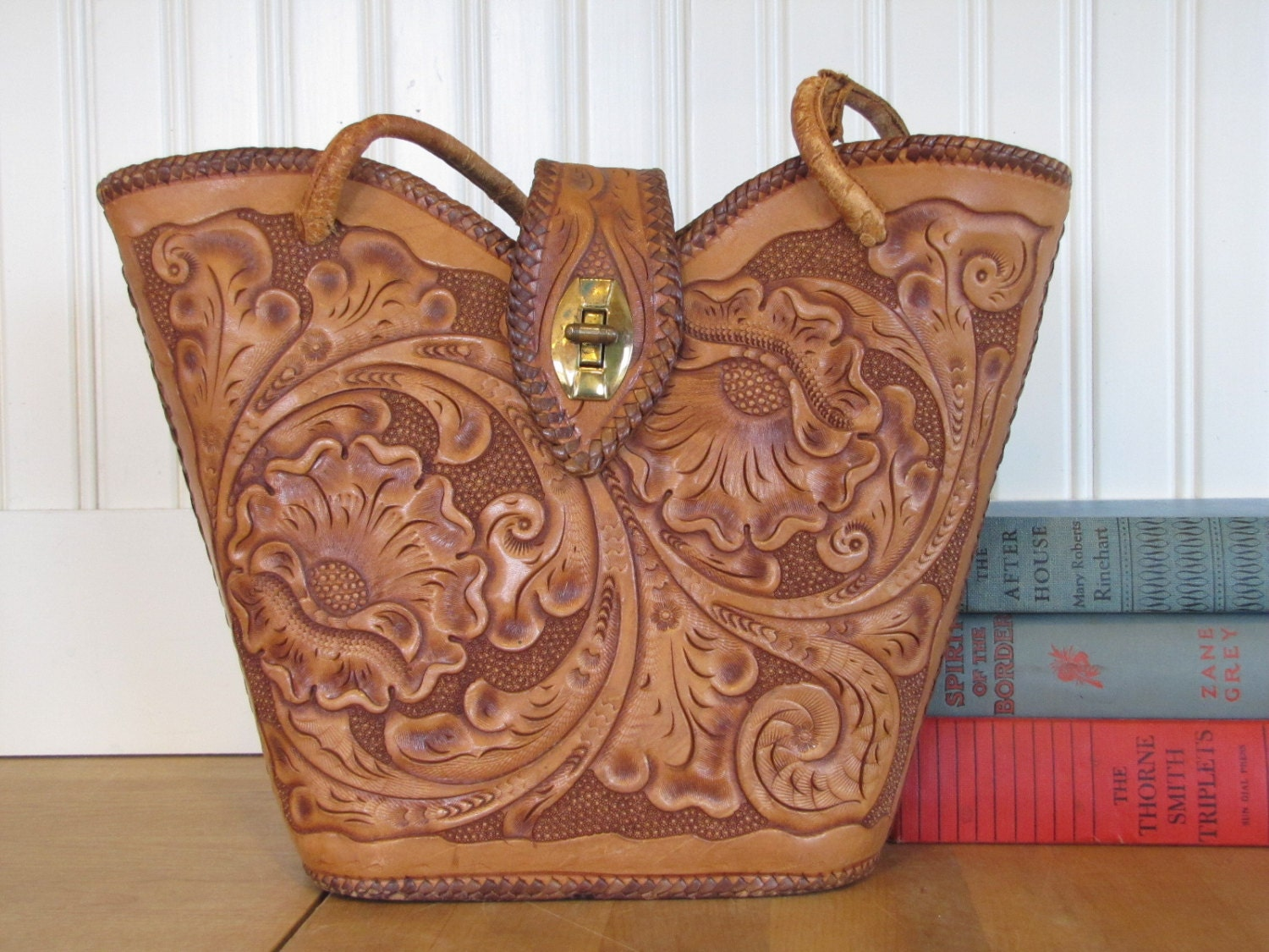 1960s Tooled Mexican Leather Purse Tooled Purse Leather