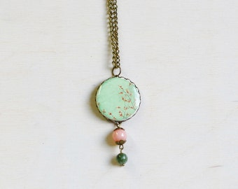 Mint and pink floral necklace polymer clay necklace with green and blue beads