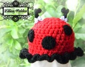 Little Lacey Ladybug Crochet Hat for Baby Girls