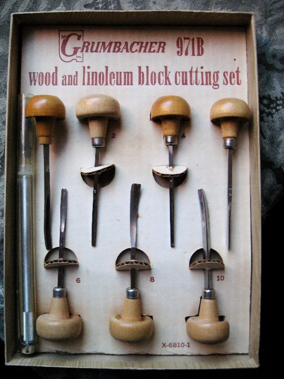 Grumbacher vintage wood linoleum block carving tool set of