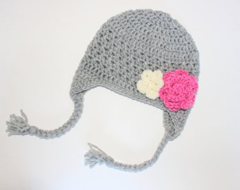 Baby Girl Crochet Earflap Hat, Toddler Earflap Hat, Gray, Pink, and Cream