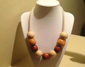 Large wood beads necklace