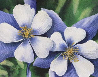 Twin Blooms, Original Watercolor, 12 x 9, FREE SHIPPING