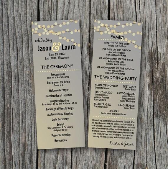 DIY Printable Wedding Program String Of Lights By Themunch