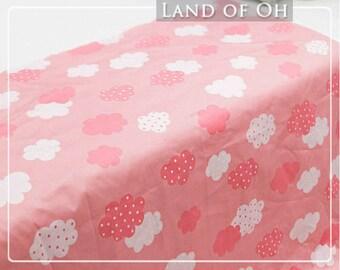 Polkadot Cloud Cotton Fabric Pink per Yard 30273