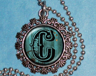 """Letter """"C"""" Art Pendant,  Alphabet Resin Pendant, Vintage Silver, Black & Blue Photo Pendant"""