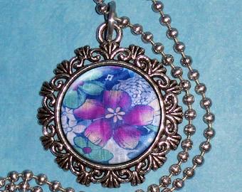 Burgundy and Bluegreen Flowers Art Pendant, Flower Resin Pendant, Photo Pendant
