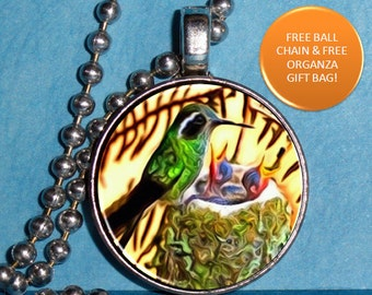 Mother's Day Art Pendant, Hummingbird with Chicks Resin Photo Charm, Ball Chain Necklace
