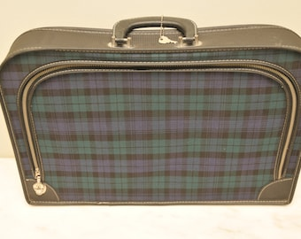Vintage Small Plaid Suitcase with Keys