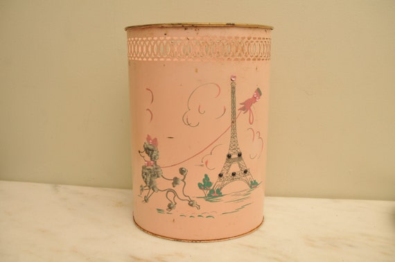 Vintage 1950s Poodle at Eittel Tower Paris Handpainted Pink Gray Tole Trash Can