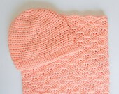 Coral Bunting And Hat Set Newborn Boy  Peach Sleep Sack With Cap 6 Month Infant Girl Salmon Cocoon With Beanie Pastel Orange  Shower Gift