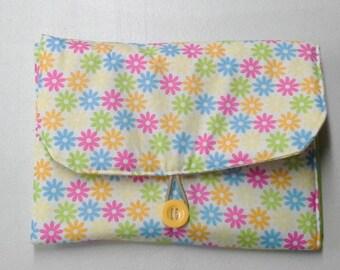 Pink Yellow  Blue Green Orange Floral Pattern Travel Diaper Changing Pad