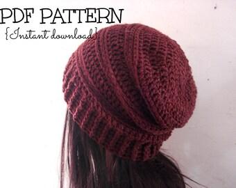 CROCHET PATTERN, slouchy hat pattern, crochet slouchy beanie pattern, The Chocolate Slouchy hat, adult size, Pattern No. 63