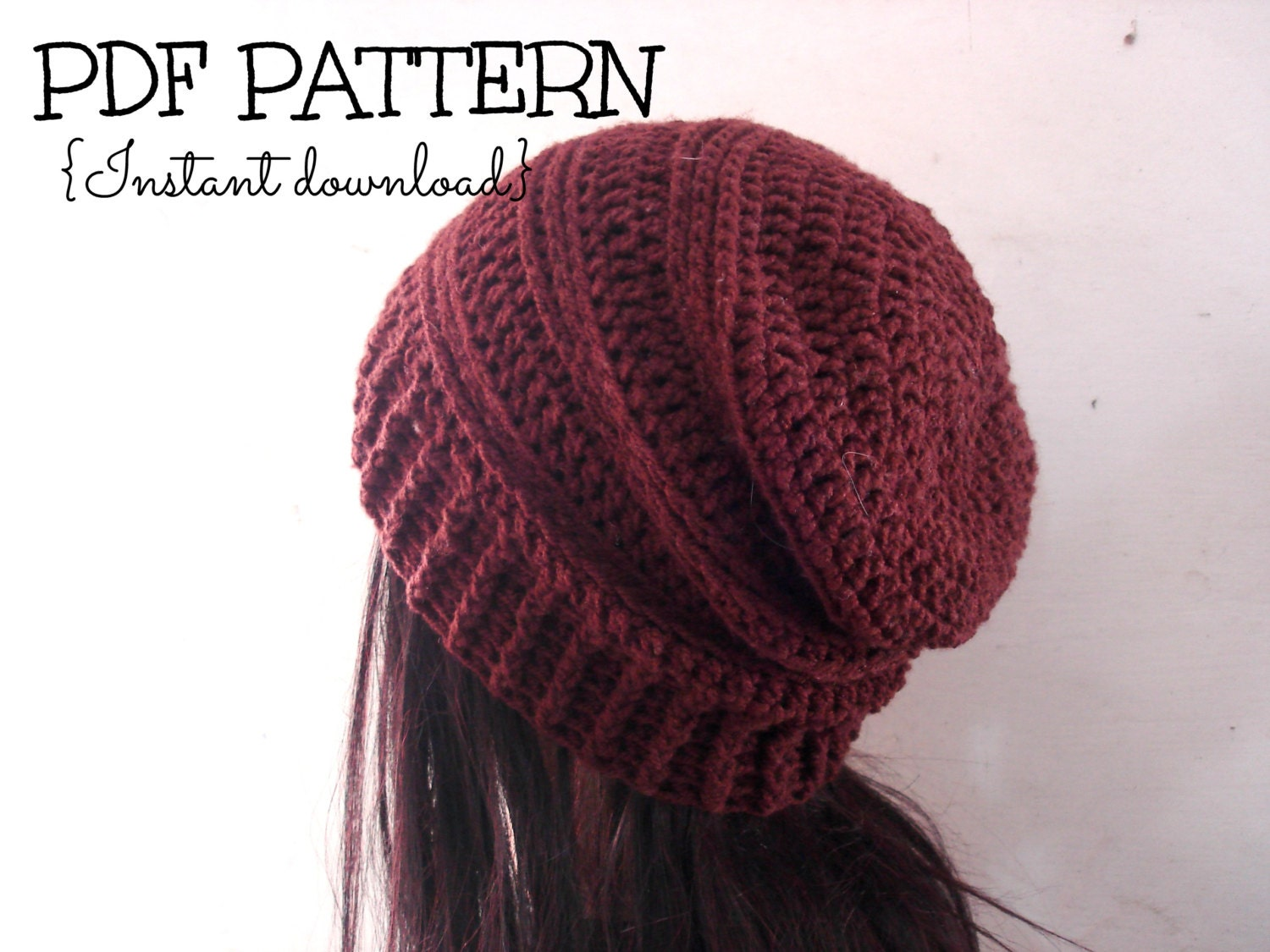 Crochet Patterns Slouchy Beanie : CROCHET PATTERN slouchy hat pattern crochet by TheLazyHobbyhopper