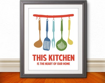 This Kitchen Is The Heart Of Our Home, Kitchen Print, Kitchen Art, Kitchen Poster - 6 Sizes
