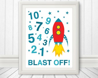 123, Rocket Ship, 123 Poster, 123 Print, Numbers Print, Numbers Poster, Blast Off  - 8x10