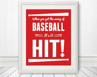 Baseball: It's a Hit, Baseball Print, Baseball Sign, Baseball Art - 8x10
