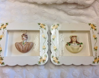 Vintage Couple Wall Plaques -Mustache Man and Braided Hair Lady Wall Plaques- English Rose Vines on Frame