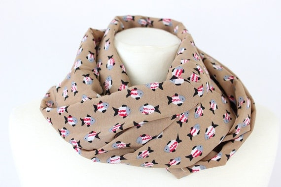 Kawaii Fish Print Korean Velvet Spring Summer Scarves