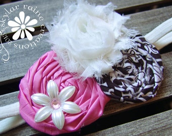 KIDS Headband -Double Rosette Style - Adults & Kids - Shabby Chic - Pink and Brown Headband