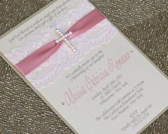 CHRISTINA: Pink Lace Baptism Invitation, Christening Invitation with Crystal Cross, Religious Invitation