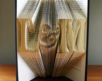 Paper Anniversary - 1st First Wedding Anniversary Gift for Boyfriend / Husband - Folded Book Art Sculpture Gift - Handmade Wedding Gift