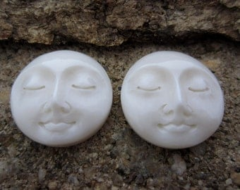 SALE 15% Off Balibagus Beautiful Pair 15mm  Moon face cabochon with closed eye , embellishment, Buffalo  carving, Jewelry Supplies B5940