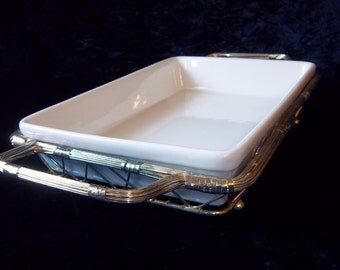 White Ceramic Dish in Silver Serving Basket