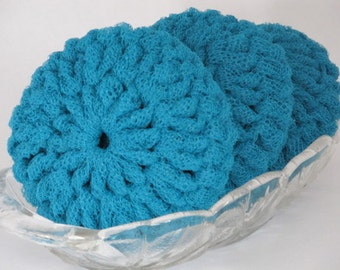 Dish Scrubbies Made Of Turquoise Nylon Net