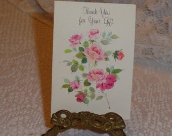 Vintage 1950s Set of Five Unused Miniature THANK YOU for Your Gift Greeting Cards  with Pink Roses