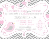 Birds Baby Shower Invitations Girl Pink Grey - Bird Chevron Baby Shower Invites - Pink Grey - Bird Cage Invite Banner - Birdcage Baby Shower