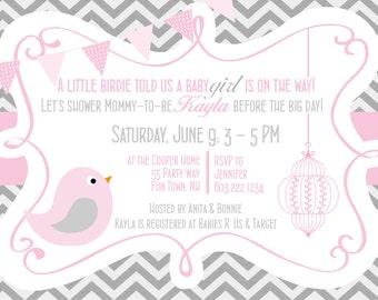 Baby Shower Invites Girl Bird Pink Grey - Bird Chevron Baby Shower Invitation - Pink Grey Gray - Bunting Banner - Birdcage Baby Shower