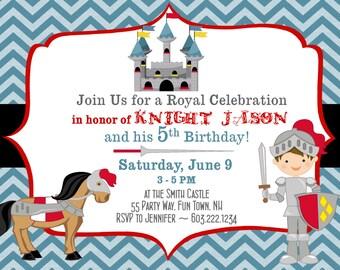 Knight Birthday Invitation Knight Party Knight Invitations Printable Birthday Invitation Knight Horse Castle Birthday Invites Chevron Photo