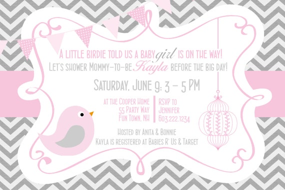bird baby shower invitation girl invitation bird baby shower, Baby shower invitations