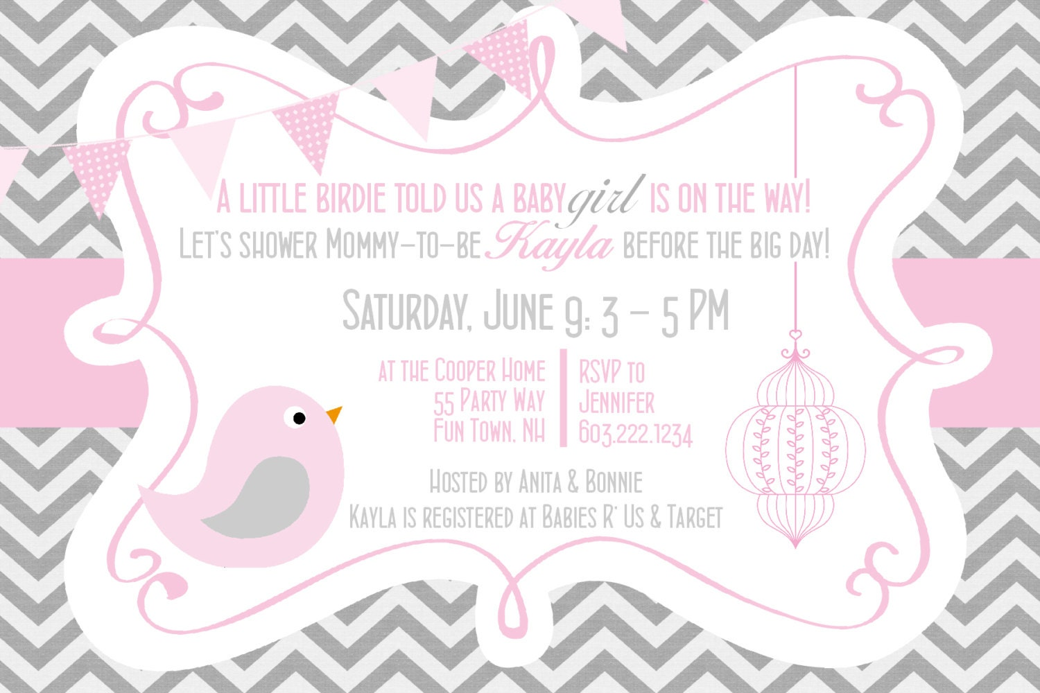 Pink And Grey Chevron Invitation girl pink by