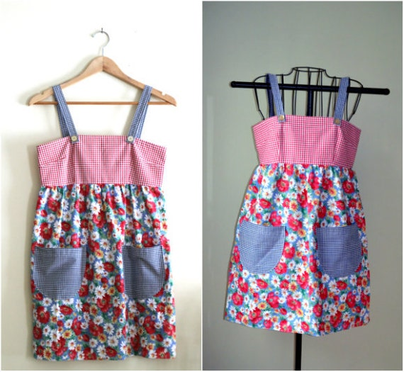 Vintage Handmade Red and Blue Gingham and Floral Babydoll Mini Dress - 1960s