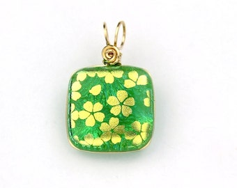Green Dichroic Glass Pendant, Gold Filled Wire Wrapped with Gold Flowers