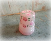 lovely pink vintage glass thimble with hand painted flowers