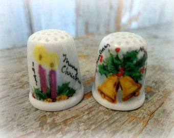 vintage porcelain thimbles / christmas candles & bells / set of 2
