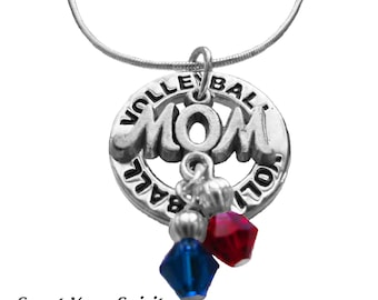 Personalized,Volleyball Necklace,Team Colors,Swarovski Necklace,Volleyball Mom,Volleyball Gift,Coach,Nana,Volleyball Jewelry,(MADE TO ORDER)