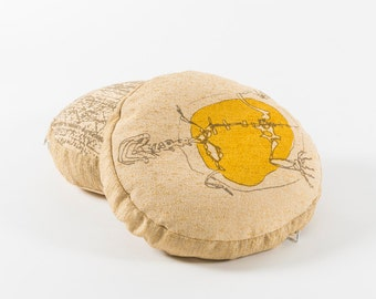 Yellow  buckwheat recto-verso cushion - Turtle & texture pattern