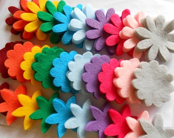 120 piece spring and summer bright modern colors big felt flower die cut pieces felt crafts  -interesting color combo for crafting