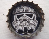 ITEM 1010 Storm Trooper, sugar skull, elaborate, damask, black and white, star wars, unique, Eppy Cap, bottle cap magnet