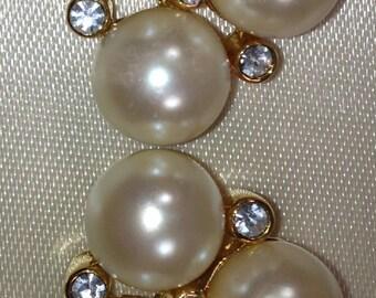 MARVELLA Earrings Faux PEARL and RHINESTONE Earrings Cluster Pierced Earring  Original Box Bridal